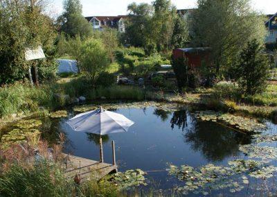 Unterhalb der Hütten befindet sich der kleine romantische Schwimm-Teich.